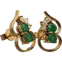 emerald-and-diamond-earrings Beryl Lane - Estate 18ct Yellow Gold Emerald and Diamond Pear-shaped Pendant