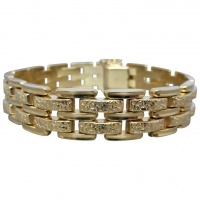 estate-14ct-yellow-gold-unisex_gatelink-bracelet Beryl Lane - Estate 9ct Rose Gold Patterned Gate Padlock Bracelet