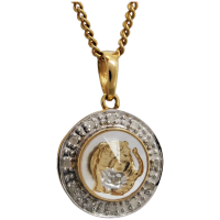 "estate-18k-gold-diamond-set-tiger-zodiac__spinning_pendant Beryl Lane - Vintage 9ct gold Lab Created Ruby & Diamond Pendant Necklace, 21.5"" inches"