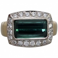 estate-18k-gold-green-tourmaline-diamond-cluster-ring Beryl Lane - Modern (1980- Present)