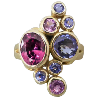 estate-9k-gold-rhodolite-garnet-tanzanite-pink-sapphire-ring Beryl Lane - Rings