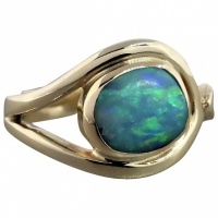 estate-9k-yellow-gold-asymmetrical-boulder-opal-ring- Beryl Lane - Modern (1980- Present)