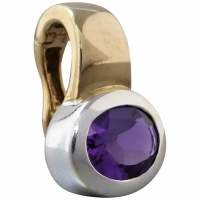 estate-9k-yellow-white-gold-amethyst-enhancer-pendant- Beryl Lane - Vintage Rolled Gold Amethyst Paste Pendant