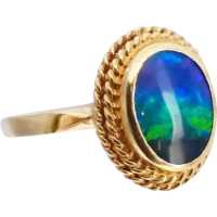 estate_opal_ring Beryl Lane - Vintage Retro 18K Yellow Gold Australian Solid Opal Ring