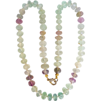 fluorite_carved_necklace Beryl Lane - Vintage Art Deco c1920 Briolette Rock Crystal Necklace with 9k Gold Clasp
