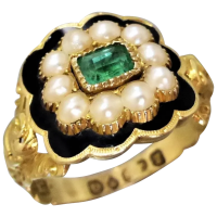 georgian-18k-gold-emerald-pearl-black-enamel-ring Beryl Lane - Rings