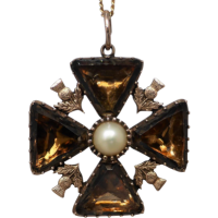 georgian-scottish-cairngorm-quartz-maltese-cross-pendant Beryl Lane - Victorian (1837- 1901)