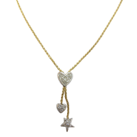 18ct-Two-Tone-CZ-Heart-and-Star-Droplet-Franco-Necklace-595-1 Beryl Lane - Estate 9ct Gold Sparkling Cubic Zirconia Slider Necklace