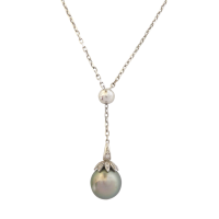 18ct-White-Gold-Tahitian-South-Sea-Pearl-and-Diamond-Lariat-Necklace-2448 Beryl Lane - Pearl Jewellery