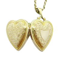 9ct-Rose-Gold-Antique-Edwardian-Engraved-Heart-Locket-with-Necklace-750-1 Beryl Lane - SOLD
