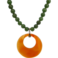 nephrite_jade_carnelian_pendant_necklace Beryl Lane - SOLD
