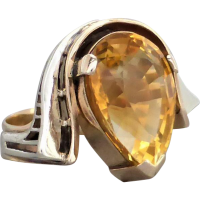 retro_citrine_ring Beryl Lane - Graduated Faceted Natural Golden Citrine Strand Necklace