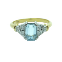 18ct-Two-Tone-Aquamarine-and-Diamond-Ring-715 Beryl Lane - SOLD