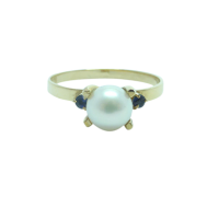 Vintage-9ct-Yellow-Gold-Cultured-Pearl-and-Sapphire-Ring-192 Beryl Lane - SOLD