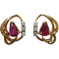 ruby-and-diamond-stud-earrings Beryl Lane - Estate 14ct Yellow Gold Natural Ruby and Diamond Pendant