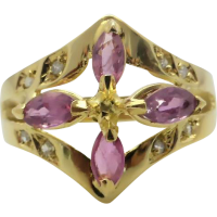 ruby_diamond_dress_ring Beryl Lane - Estate 14ct Yellow Gold Natural Ruby and Diamond Pendant