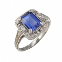 sapphire_glass_cluster_ring_1076688121 Beryl Lane - Vintage 9ct Gold Ornately Patterned Synthetic Ruby Ring