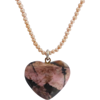 seed_pearl_strand_rhodonite_pendant_necklace Beryl Lane - Necklaces & Pendants