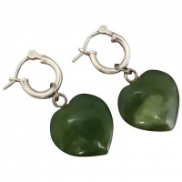 sterling-silver-nephrite-jade-heart-drop-earrings Beryl Lane - Upcycled Vintage Jewellery