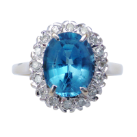 topaz-and-diamond-cluster-ring Beryl Lane - SOLD