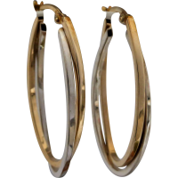 two-tone_hoop_earrings Beryl Lane - Estate 9ct Gold Sparkling Cubic Zirconia Slider Necklace