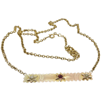 upcycled-9k-gold-garnet-doublet-seed-pearl-necklace Beryl Lane - Necklaces & Pendants