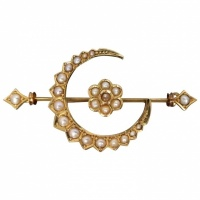 victorian-c1895-15k-gold-seed-pearl-crescent-flower-brooch Beryl Lane - Antique Edwardian Peach-colour Paste & Seed Pearl Brooch, Australian Maker
