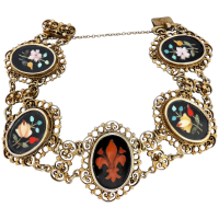 victorian-filigree-silver-gilt-pietra-dura-bracelet Beryl Lane - Victorian 20ct Gold Pietra Dura Cased Earrings & Brooch/Pendant Set