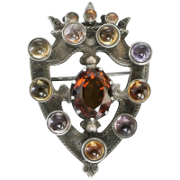 victorian-scottish-sterling-silver-cairngorm-amethyst-crest-brooch Beryl Lane - Antique Scottish Jewellery
