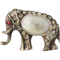victorian_elephant_brooch Beryl Lane - Antique 935 Silver Sparkling Paste Lizard Brooch
