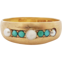 victorian_pearl_and_turquoise_ring Beryl Lane - Antique Victorian 18ct Gold Band with Rose-cut Diamonds, c1890