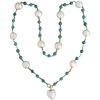 vintage-14k-gold-natural-turquoise-freshwater-pearl_necklace Beryl Lane - Vintage Art Deco c1920 Briolette Rock Crystal Necklace with 9k Gold Clasp