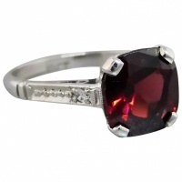 vintage-18k-white-gold-cushion-garnet Beryl Lane - Rings