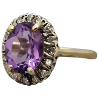 vintage-9k-gold-natural-amethyst-diamond-ring Beryl Lane - Rings