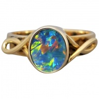 vintage-9k-gold-opal-ring Beryl Lane - Antique Edwardian 9ct Gold Vibrant Opal & Flower Bracelet
