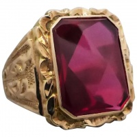 vintage-9k-gold-ornately-patterned-synthetic-ruby-ring Beryl Lane - Vintage (1920- 1970)