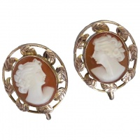 vintage-c1930-elegant-9k-gold-leaf-cameo-earrings Beryl Lane - Vintage (1920- 1970)