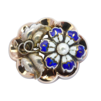 vintage-enamel-and-pearl-brooch Beryl Lane - Victorian Sterling Silver Brooch with Gold Floral Overlay