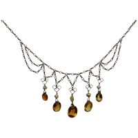 vintage-gold-plated-citrine-pearl-fringe-necklace Beryl Lane - Necklaces & Pendants