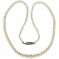 vintage-graduated-lustrous-creamy-akoya-pearl-necklace Beryl Lane - Vintage 1950's Mikimoto Cased Three Strand Graduated Akoya Pearl Necklace, 10K White Gold Clasp