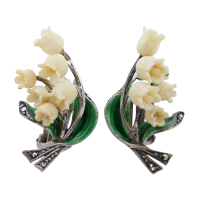 vintage-marcasite-and-enamel-flower-earrings Beryl Lane - SOLD