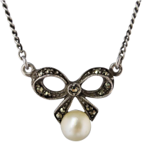 vintage-marcasite-pearl-bow-necklace Beryl Lane - Marcasite Jewellery