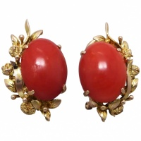 vintage-mid-century-14k-gold-red-coral-earrings Beryl Lane - SOLD