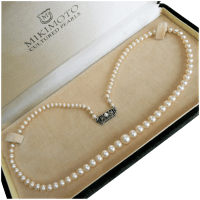 vintage-mikimoto-graduated-pearl-strand Beryl Lane - Vintage 1950's Mikimoto Cased Three Strand Graduated Akoya Pearl Necklace, 10K White Gold Clasp