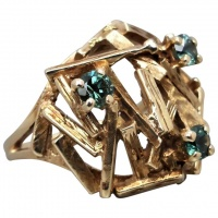 vintage-retro-9ct-gold-synthetic-spinel-brutalist-ring Beryl Lane - Rings