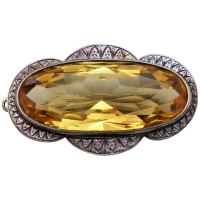 vintage-sterling-silver-large-citrine-brooch Beryl Lane - Antique Victorian Scottish 9ct Gold Citrine & Agate Brooch