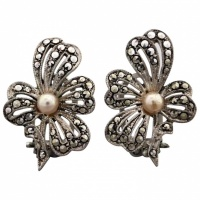 vintage-sterling-silver-marcasite-faux-pearl-earrings Beryl Lane - Marcasite Jewellery