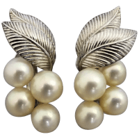 vintage-sterling-silver-mikimoto-akoya-pearl-earrings Beryl Lane - Vintage 1950's Mikimoto Cased Three Strand Graduated Akoya Pearl Necklace, 10K White Gold Clasp