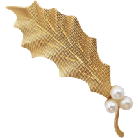 vintage_18ct_gold_pearl_leaf_brooch Beryl Lane - SOLD