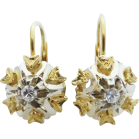 vintage_18ct_two_tone_diamond_earrings Beryl Lane - diamond stud earrings